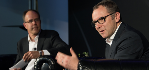 Lamborghini CEO Stefano Domenicali, right, speaks with Stanford professor of mechanical engineering Chris Gerdes